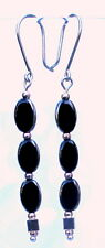 Dangle Earrings /black glass beads  - handmade