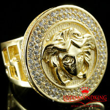 MEN 14K YELLOW GOLD FINISH STERLING SILVER GREEK MEDUSA HEAD ICY RING PINKY BAND
