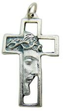 """Face Of Jesus Christ Profile Pendant Silver Tone Metal Cross Gift Italy 1 3/8""""L"""