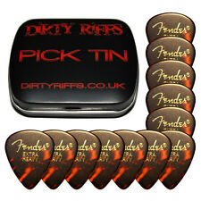 12 x Fender Shell Extra Heavy Classic Celluloid Guitar Picks In A Pick Tin