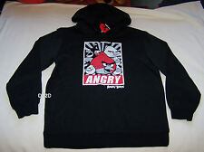Angry Birds Mens Black Printed Hoodie Jumper Top Size S New