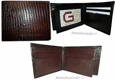 Leather Men's Wallet. Lizard skin printed man's bi-fold wallet 9 card ID BR New