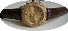 Designer  Leather Band Hip Hop Bling Brown & Gold Finish Fashion  Watch