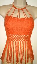 Festival fringe Crochet Knit Halter Crop top boho Cut Out Beach Hippie Sz M NWT
