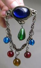 Vintage Multi-Color Glass Ball Bead Chatelain Brooch - Blue Red Green Yellow