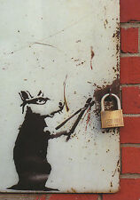 "Banksy Postcard size 6"" x 4"" Photo Print Sticker with Rat Cutter"