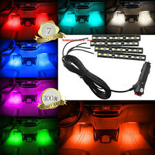 Blue 4*9 LED Car Light Interior Atmosphere SUV Floor Strip Lamp Remote Music CE