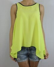 BNWOT RIVER ISLAND neon lime green silk feel drape vest top size 8 SOLD OUT