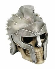 5 Inch Spiked Helmet Warrior Skeleton Skull Resin Statue Figurine