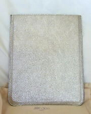 Jimmy Choo Handbag Glitter iPad Sleeve in Metallic Silver Leather-NWT-RP: $495