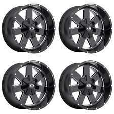 "Set 4 20"" Vision 411 Arc Black Milled Chevy GMC 8 Lug Truck Wheels 20x9 8x6.5"