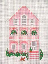 The Pink House, Cape May, NJ handpaint Needlepoint Canvas Needle Crossings