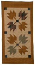 """AUTUMN LEAVES PATTERN  NO TEA DYE QUILTED MINI TABLE RUNNER ~ MAT 12"""" x 23"""""""
