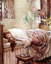 Art Print Victorian Girl Sleeping Dreaming Dancing Butterfly Fairy Pixie Elves