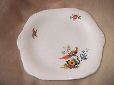 Vintage étiquette carrée à gâteau plat mayfair bone china oiseaux exotiques design