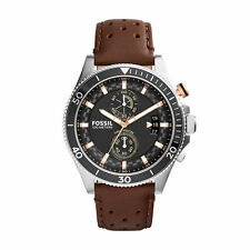 NIB Fossil Men's CH2944 Wakefield Chronograph Leather Watch - Brown