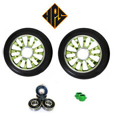 NEW 2 HURRICANE PRO STUNT SCOOTER GREEN METAL CORE WHEELS 110mm ABEC 11 BEARING