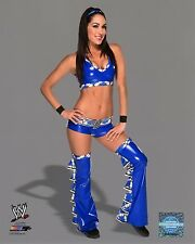 """WWE PHOTO BRIE BELLA TWINS STUDIO 8x10"""" OFFICIAL WRESTLING PROMO IN BLUE"""