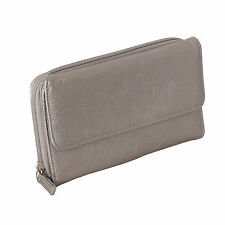 Mundi Women Silver My Big Fat Wallet Checkbook Calculator Photo Organizer Clutch