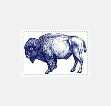 15 BLUE BISON STICKERS • Travel Art Letters Cards Tags Buffalo Wyoming West A-05