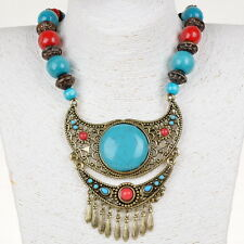Tribal Wood Beads Hollow Resin Lucite Fancy Charm Necklace Statement Pendant