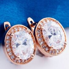 Pretty New Classic Rose Gold Plated Oval Shaped White / Clear CZ Hoop Earrings