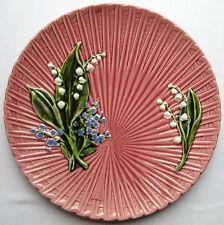 Grande assiette rose ou plat barbotine: Myosotis + Muguet sur feuille de palmier