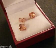 L10 ROSE gold filled stud earrings, 7mm champagne topaz, large butterfly, BOXED