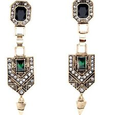 Art Deco Vintage Elegant Luxury Green Geometric Earrings Jewelry