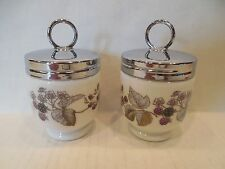 TWO Vintage Royal Worcester Egg Coddlers England Lavinia Blackberries Chrome