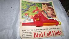 VINTAGE 1954 TOY WHISTLE BIRD CALL FLUTE CAT & BIRD MINT ON CARD