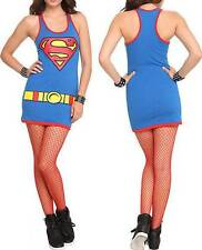 S~small~DC COMICS~punk~SUPERMAN~COSTUME~SUPERGIRL~MINI~cosplay~TANK~gothic~DRESS
