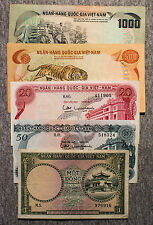 5 different South Vietnam paper money 1956-1970's nice circ.-Au