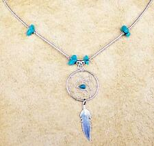 """DREAMCATCHER"" TURQUOISE & SILVER NECKLACE NATIVE MADE"
