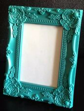 "TEAL BAROQUE ROCOCO FRENCH SHABBY CHIC VINTAGE 7""x5""  PICTURE PHOTO FRAME"