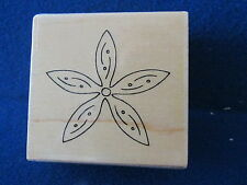 WOODEN BACKED FLOWER RUBBER INK STAMP FL816 D ORNATE FLOWER