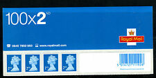 2nd class (Blue) top panel of 4 stamps from Business Sheet-no codes -19/01/05