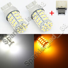 60-SMD 7443 Switchback LED Bulbs plus Flasher For Scion FRS Turn Signal Lights