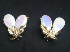 Vintage Clip on Earrings with Plastic and Metal Flowers and Leaves. (J27)