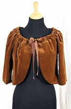 TRINA TURK USA CHOCOLATE BROWN VELVET VELOUR COTTON BLEND LACE BOW CAPE BOLERO M