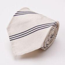 NWT $295 CESARE ATTOLINI 7-Fold Silk Tie Ivory Cream-Black Ribbon Stripe