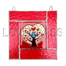 LOVE TREE Stained Glass, Sun Catcher, Gift, Window Decoration, Art Glassware, UK