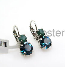 MARIANA PETITE SILVER EARRINGS with Swarovski Crystal Teal Green Lever-back Wire