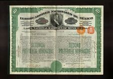 National Railways of Mexico Ferrocarriles Nacionales 1910 10 sh Gold Bond USD100
