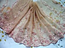 """1Y~9""""~ Embroidered Tulle Lace Trim lingerie Home-decorating Wedding Deep Beige"""