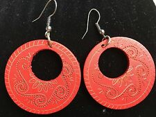 Boho Hippy Gypsy 70s Style Open Hoop Red Wooden Abstract Fashion Earrings