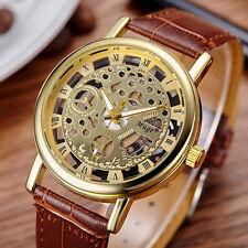 Wasserdicht Herren Hohl Business Armbanduhr Golden Luxus Mechanisch Uhr Gift