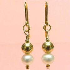 9ct Gold Ball Drop Earrings with Genuine White Freshwater Pearls