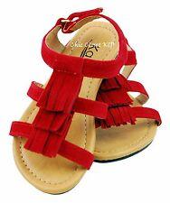 Little Girls Pageant Fringe Summer Color Pink JR Toddler Flats Galdiator Sandals