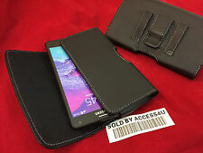 HORIZONTAL BLACK LEATHER CARRYING CASE BELT CLIP POUCH FOR SAMSUNG GALAXY NOTE 4